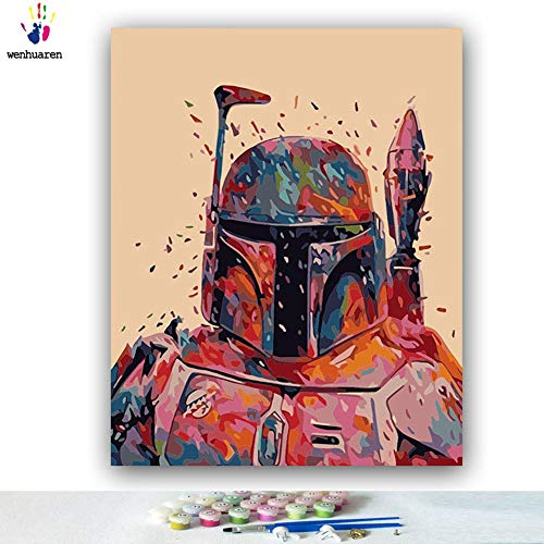 Paint by Number Kits Canvas DIY Oil Painting for Kids, Students, Adults Beginner with Brushes and Acrylic Pigment -Star Wars Movie Character Darth Vader Kylo Ren (21160, 20x24 no Frame)]()