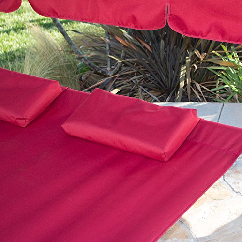 Belleze swimming pool double hammock bed sun lounger for Burgundy chaise lounge