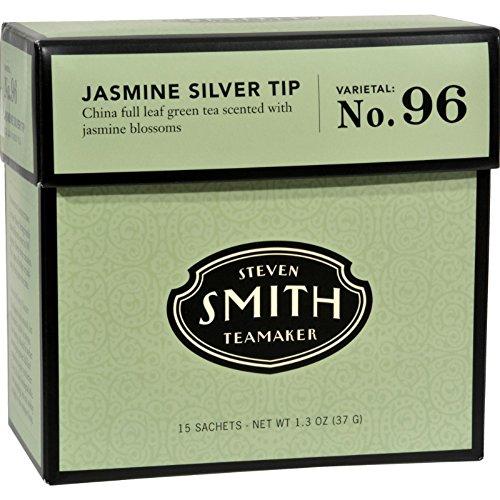 Smith Teamaker Green Tea - Jasmine Silver Top - 15 Bags - Gluten Free - Dairy Free - Vegan