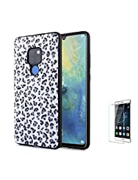 For Huawei P20 Case [with Free Screen Protector],Funyee New Creative Leopard Print Plush Flexible Soft TPU Silicone Shockproof Ultra Thin Durable Phone Case for Huawei P20,White