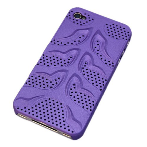 Perforated Fish (Premium Fish-bone Perforated Polycarbonate Snap-On Hard Case / Hard Shell / Protective Back Cover for Apple iPhone 4 / US Seller / Fast Shipping Guaranteed / 4BC27 Purple)