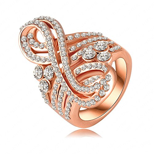 LuckyWeng Music Ring Women Treble Clef 18K Rose Gold Plated Cocktail Statement Pave CZ Cubic Zirconia