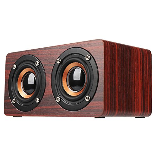 Bluetooth Speaker Wireless Wooden Stereo Loudspeaker Built-i
