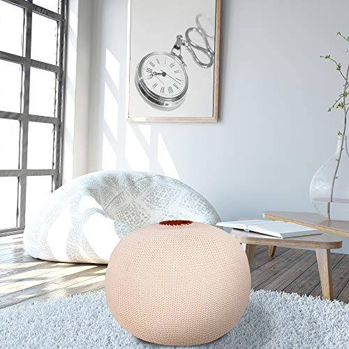 Larimar Hand Knitted Cotton Ottoman Pouf, Hand Knit Modern Floor Pouf Round Footstool, Pouffe seat for Living Room, Bedroom, Nursery, Kids Room, Patio, 100% Cotton Braid Cord, Ivory Pouf
