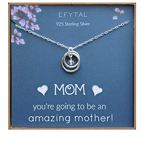 EFYTAL Baby Shower Gift, Sterling Silver Pregnancy Necklace for Expecting New Mom, Pregnant Mother To Be Jewelry (Best Mom To Be Gifts)