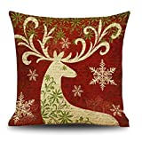 Ikevan Christmas Pillowcase Cotton Linen Square Cushion Cover Throw Waist Pillow Case Sofa Bed Party Home Decoration (04)