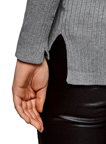 oodji Collection Mujer Chaqueta de Punto Texturizado con Escote en V Gris (2500M)