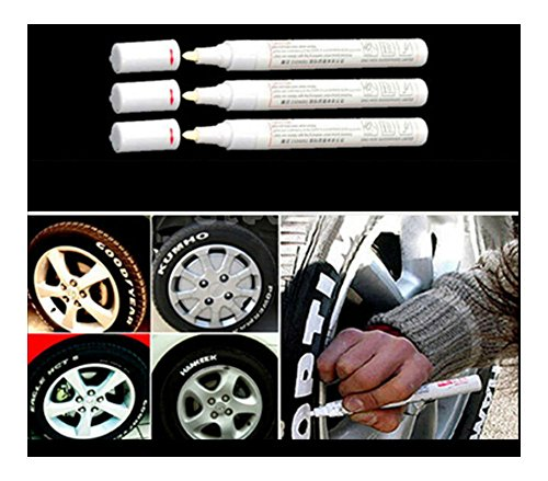 - 3pc White Paint Pen Marker Waterproof Permanent Car Tire Lettering Rubber Letter