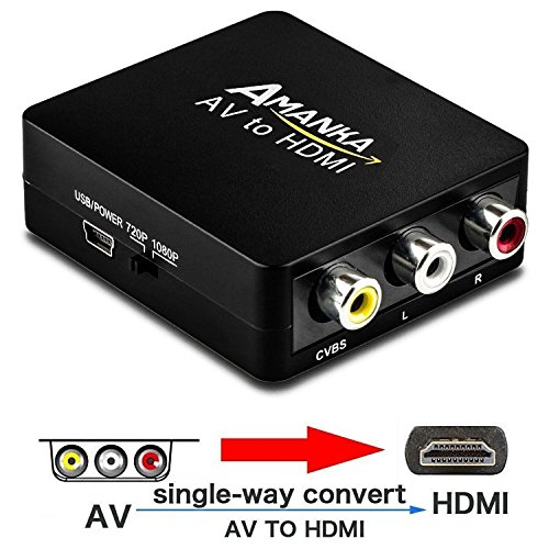 - Amanka RCA to HDMI, 1080P Mini RCA Composite CVBS AV to HDMI Video Audio Converter Adapter with USB Charge Cable for PC Laptop Xbox PS4 PS3 TV STB VHS VCR Camera DVD