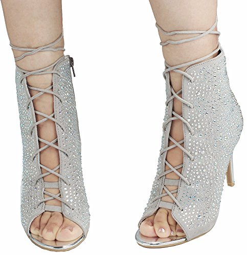 JJF Shoes Women Glitter Crystal Rhinestone Peep Toe Platform High Heel Evening Dress Bootie Sandals Silver_58 MexeepX
