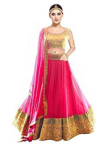 144e0a32aeee Ocean Dream Woman s Net Semi Stitched lehenga choli For Dupatta Set(Pink Work  Free Size Lehenga Choli)  Amazon.in  Clothing   Accessories