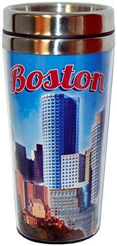 City of Boston Clear Blue Sky, Skyline Souvenir Travel Mug (Sky Mug Blue)