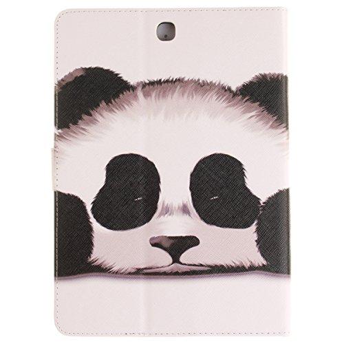Ukayfe Flip funda de cuero PU para Samsung Galaxy Tab A 9.7 T550, Leather Wallet Case Cover Skin Shell Carcasa Funda para Samsung Galaxy Tab A 9.7 T550 con Pintado Patrón Diseño, Cubierta de la caja F Panda
