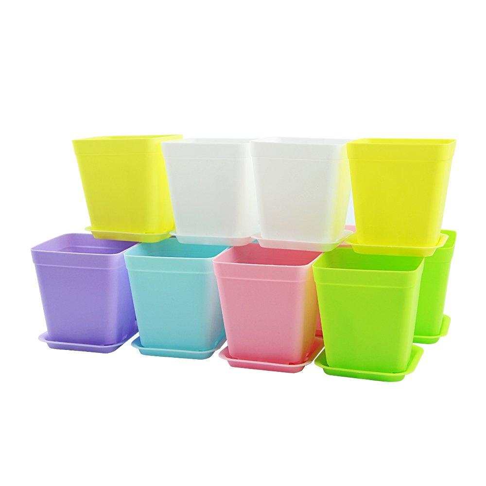 Vejaoo 12pcs Modern Simple Plastic Mini Square Plant Flower Pots, Decorative Office & Home,6 Colors (12 pack 6 colors)