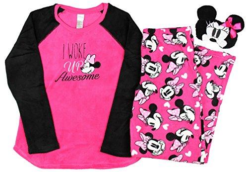 Disney Minnie Mouse Plush Pajama Sleep Set w/ Eyemask - Medium (Plush Mouse Eyemask)
