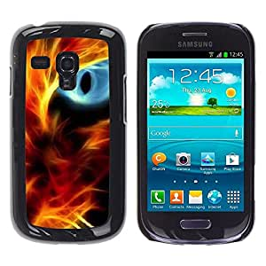 All Phone Most Case / Hard PC Metal piece Shell Slim Cover Protective Case Carcasa Funda Caso de protección para Samsung Galaxy S3 MINI NOT REGULAR! I8190 I8190N Fire Cat Eye Red Flames Neon