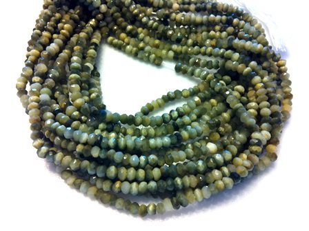 "14"" Full Strand fine Quality Faceted rondelles Gorgious Green Catseye Beads from INDIA WINSTONE"