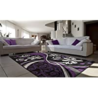 All New Contemporary Floral Design with Swirls Area Rug Legacy Collection by Rug Deal Plus (711 x 107, Purple/Black)