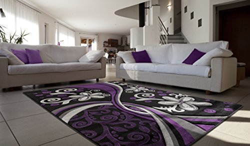 All New Contemporary Floral Design with Swirls Area Rug Legacy Collection by Rug Deal Plus (7'11'' x 10'7'', Purple/Black) by Rug Deal Plus