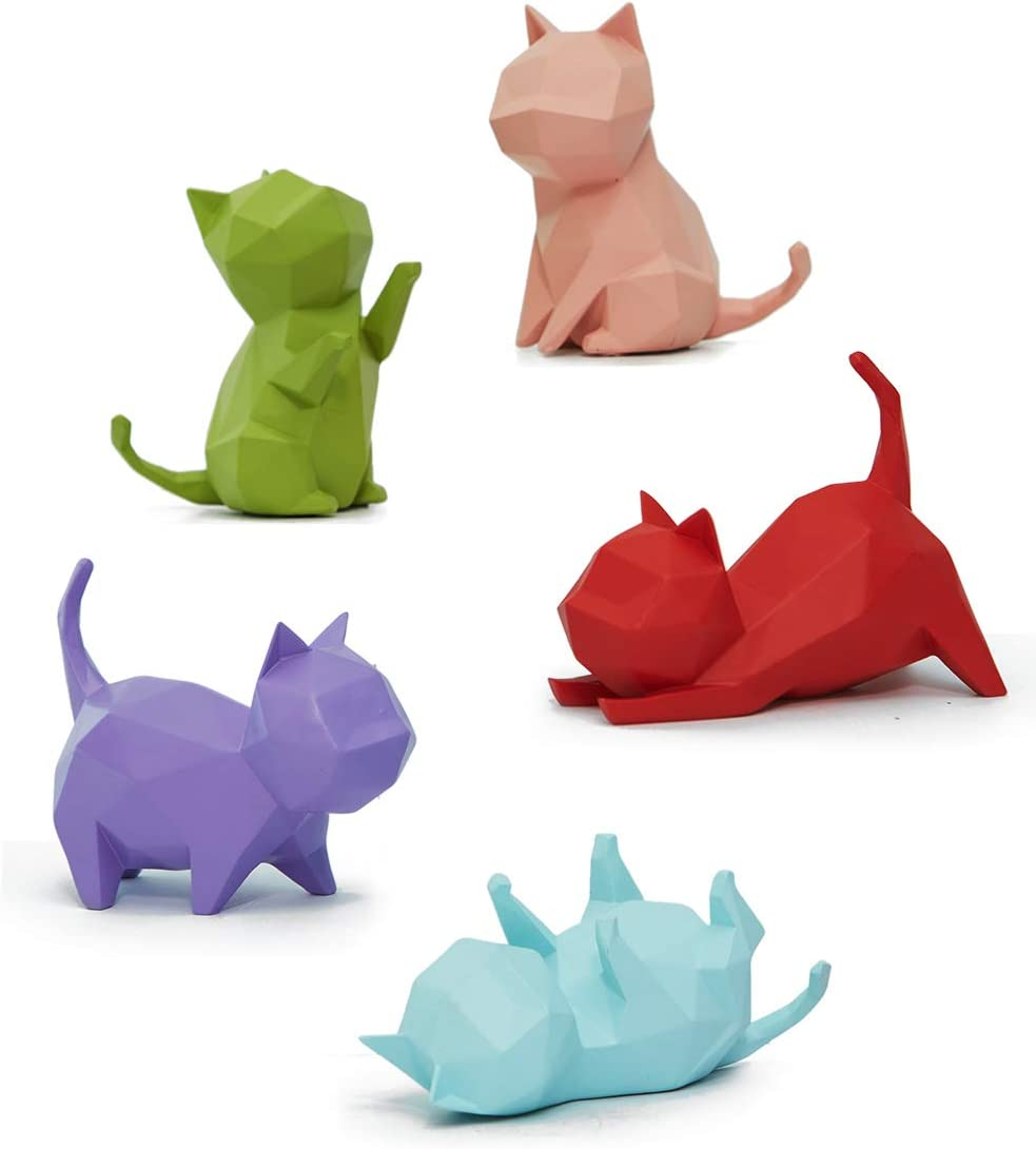 HAUCOZE 5pcs Figurine Statue Cat Sculpture Geometric Animal Decor for Home Gifts Souvenirs Giftbox Resin