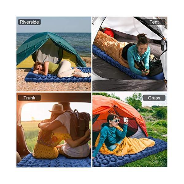 51skcJYytoL OCOOKO Isomatte Camping schlafmatte mit Fußpresse Pumpe - luftmatratze Camping isomatte aufblasbar selbstaufblasbare…