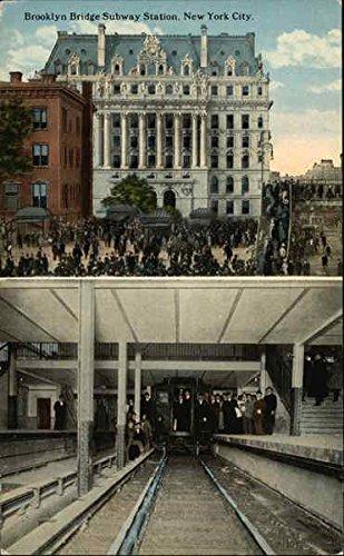 Brooklyn Bridge Subway Station New York City, New York Original Vintage Postcard