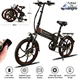 "Samebike 20"" Aluminum Pro Smart Folding Portable Electric Bike 7 Speed Gear E-Bike,48V 10AH Lithium Battery,350W High Speed brushless Gear Motor,USB 2.0 Charging Port,25lbs"