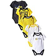 Nautica Baby-Boys Newborn 5 Pack Sailor Bodysuit, Assorted, 3-6 Months