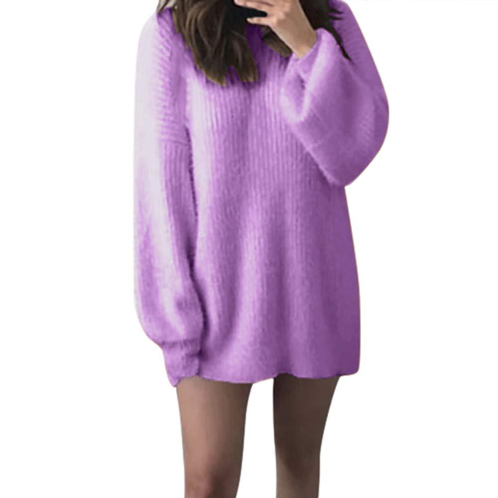 Luckycat Forme a Mujeres el sólido O-Cuello Suelto Hizo Punto la Blusa Larga Caliente del suéter de la Manga de Latern: Amazon.es: Ropa y accesorios