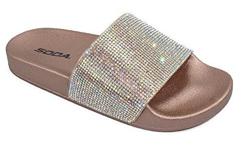 SODA Shoes Women Flip Flops Sandals Bling Rhinestone Crystal Slides Footbed Sylvia Gold Bronze Penny - Bronze Rhinestone Crystal