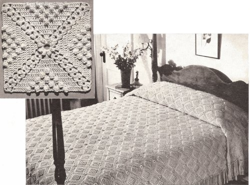 (Vintage Crochet PATTERN to make - MOTIF BLOCK Bedspread Popcorn and Cluster Design. NOT a finished item. This is a pattern and/or instructions to make the item only.)