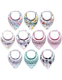 10-Pack Baby Girl Bandana Drool Bibs Gift Set for...