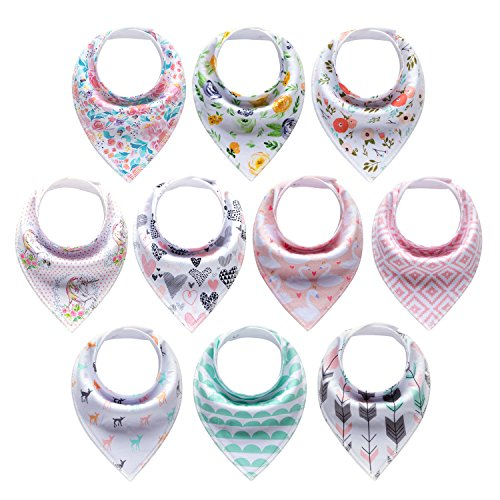 10-Pack Baby Girl Bandana Drool Bibs Gift Set for Drooling Teething by MiiYoung by MiiYoung
