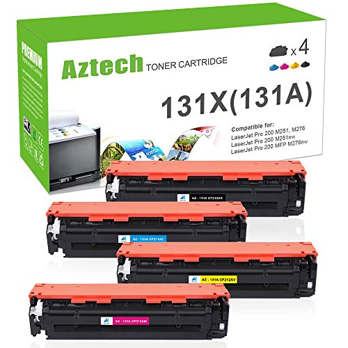 Aztech Compatible Toner Cartridge Replacement for HP 131X 131A CF210X CF210A CF211A CF212A CF213A (Black/Cyan/Yellow/Magenta, 4-Packs)