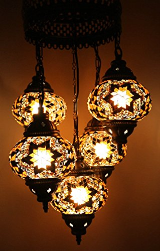 Multicolour Turkish Moroccan Style Mosaic Hanging Lamp Light Hand Craft 5 Globe by Desk Lamp