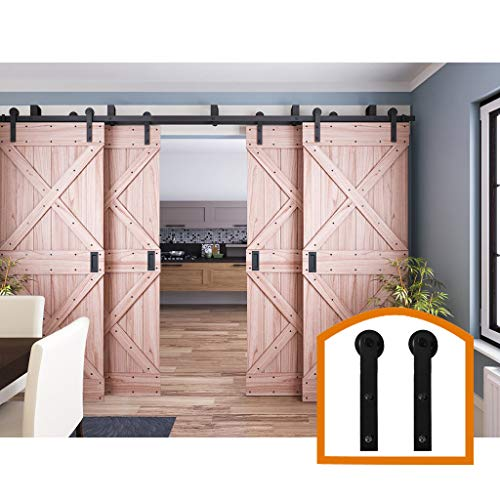 ZEKOO 10 FT Four Doors Sliding Interior by Pass Barn Door Hardware Rustic Style Use for Wooden Kit