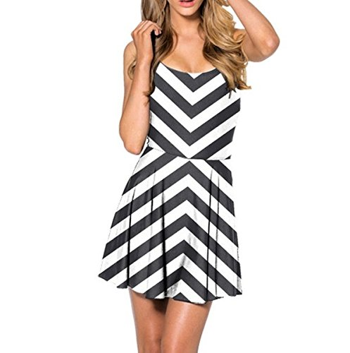 Mosszra Zig Zag Hazard Stripes Seamless Pattern Digital Print Pleated Dress