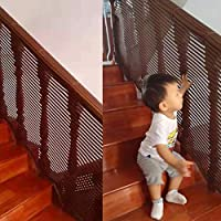Safety net for baby\children\Kids safety net for stairs safety net balcony fence guardrail net safety net for home use, brown color (1m)