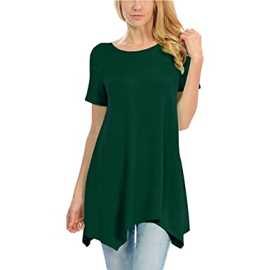 57ce87ce8 Fanfly Womens Flattering Tunic Tops Round Neck Loose Fit Short Sleeve Swing  T Shirt (Dark