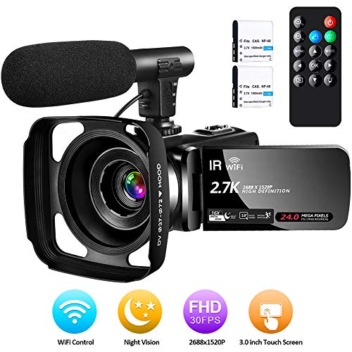 Camcorder Video Camera Digital YouTube Vlogging Camera Ultra HD 2.7K 30 FPS 24MP Wifi Camcorders with Microphone, Night Vision Camcorder with Lens Hood and Remote Control, 2 Batteries
