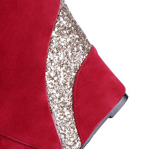 AllhqFashion Mujeres Caña Baja Sólido Cremallera Cuña Botas con Metal Rojo