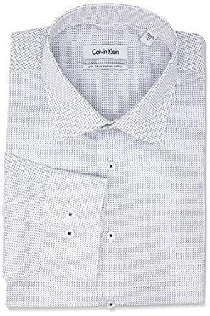 Calvin Klein Men's Slim Fit Print Shirt, Navy, 37