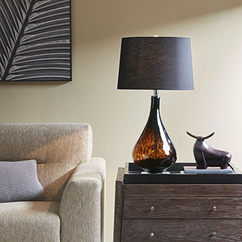 Mercer Black Metal Glass Lamp , Transitional Plug Accent Glass Lamps for Bedrooms , 16