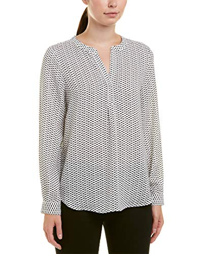 Joie Peterson B Geo-Print Long Sleeve Blouse, Porcelain (Small) White ()