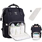 Baby Diaper Bag Backpack Multi-Function Waterproof Travel Nappy Tote Bags Large Capacity Creative Fashion Package For Both Mon&Dad//Black