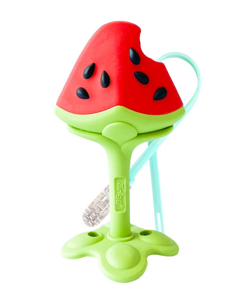 ANGE Teethers for Babies Toys Boy Girl Infant Fruit Organic Gum Cleaner TPE Material 3D Watermelon with Strap
