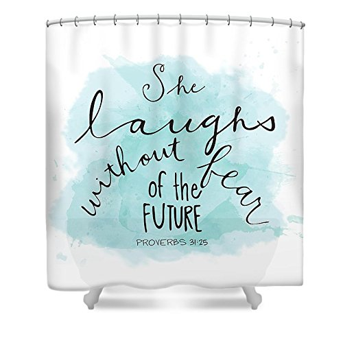 Pixels Shower Curtain (74'' x 71'') ''She Laughs'' by Pixels