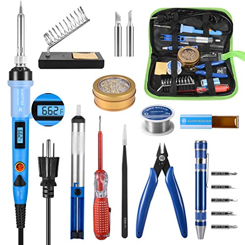 Soldering Iron Kit, 80W Digital LCD Soldering Iron with Solder Tips/Sucker/Wire, Wire Cutter, Screwdrivers, Voltage Tester, Tweezers, Brass Coil Ball, Stand, PU Bag, Fast Heating Thermostatic Design