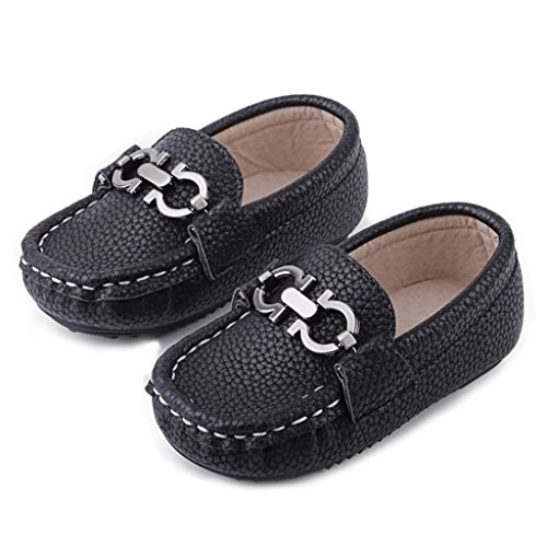 GIY Boys Girls Cute Strap Slip-On Comfortable Dress Suede Leather Loafer Flats by GIY