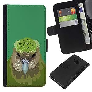 JackGot ( Pájaro del kiwi ) HTC One M7 la tarjeta de Crédito Slots PU Funda de cuero Monedero caso cubierta de piel